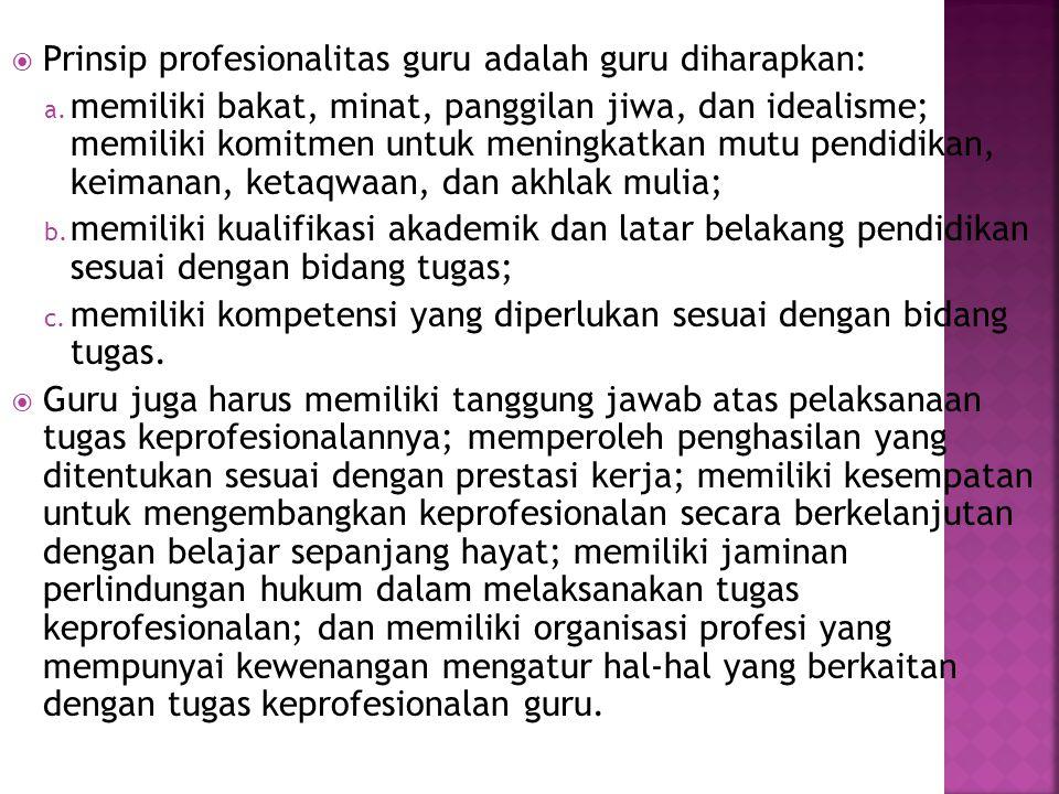 Prinsip profesionalitas guru adalah guru diharapkan: