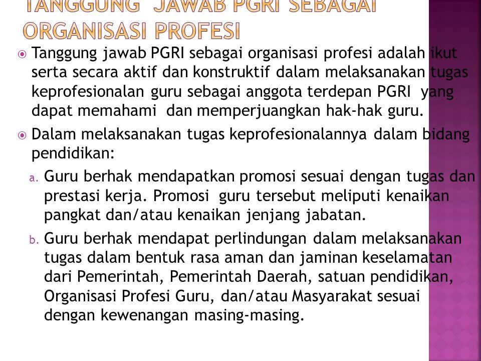 Tanggung Jawab PGRI sebagai Organisasi Profesi