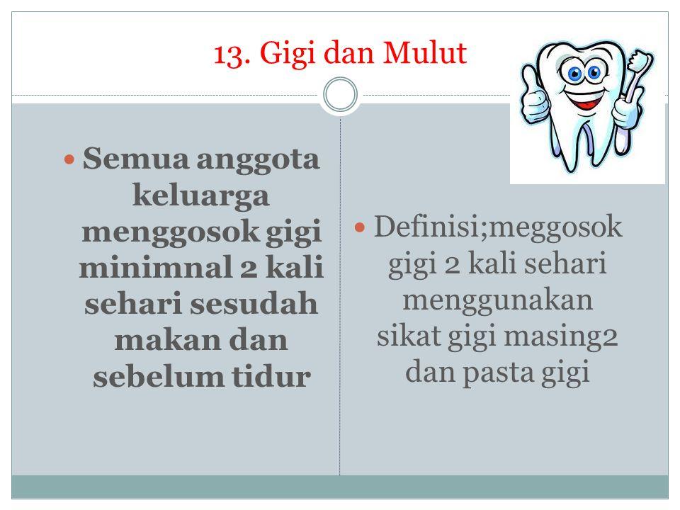 13. Gigi dan Mulut Semua anggota keluarga menggosok gigi minimnal 2 kali sehari sesudah makan dan sebelum tidur.
