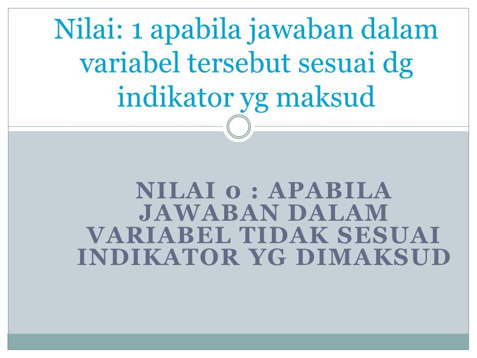 Nilai: 1 apabila jawaban dalam variabel tersebut sesuai dg indikator yg maksud