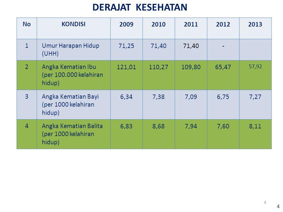DERAJAT KESEHATAN No KONDISI 2009 2010 2011 2012 2013 1