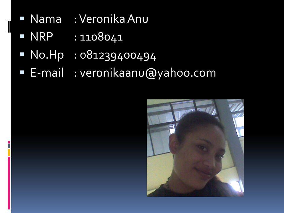 Nama : Veronika Anu NRP : 1108041 No.Hp : 081239400494 E-mail : veronikaanu@yahoo.com