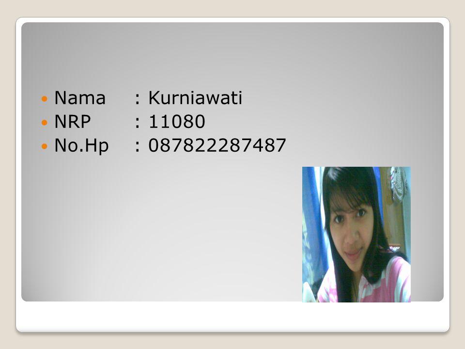 Nama : Kurniawati NRP : 11080 No.Hp : 087822287487