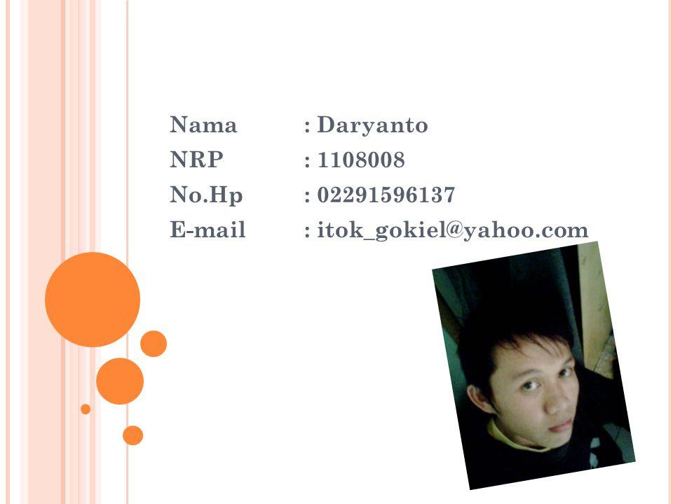 Nama : Daryanto NRP : 1108008 No.Hp : 02291596137 E-mail : itok_gokiel@yahoo.com