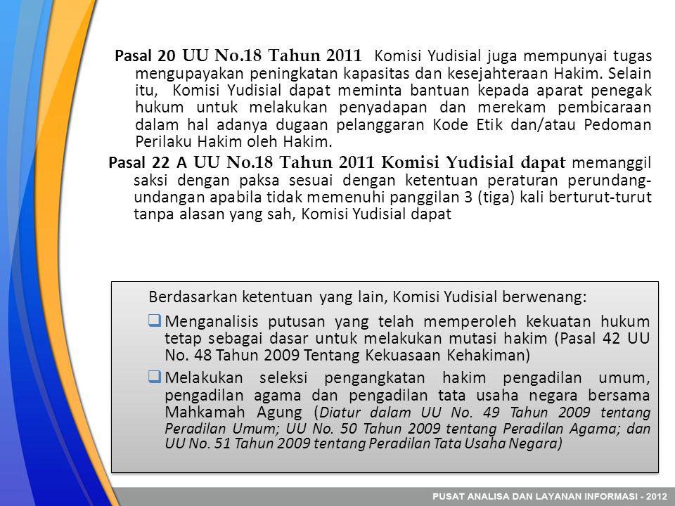 Berdasarkan ketentuan yang lain, Komisi Yudisial berwenang: