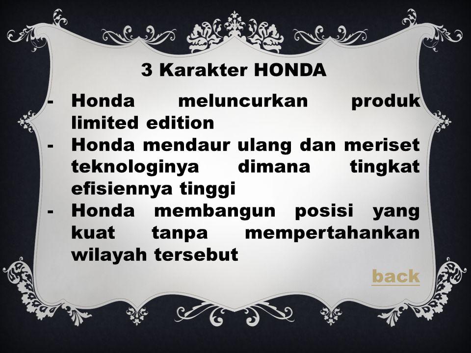 3 Karakter HONDA Honda meluncurkan produk limited edition. Honda mendaur ulang dan meriset teknologinya dimana tingkat efisiennya tinggi.