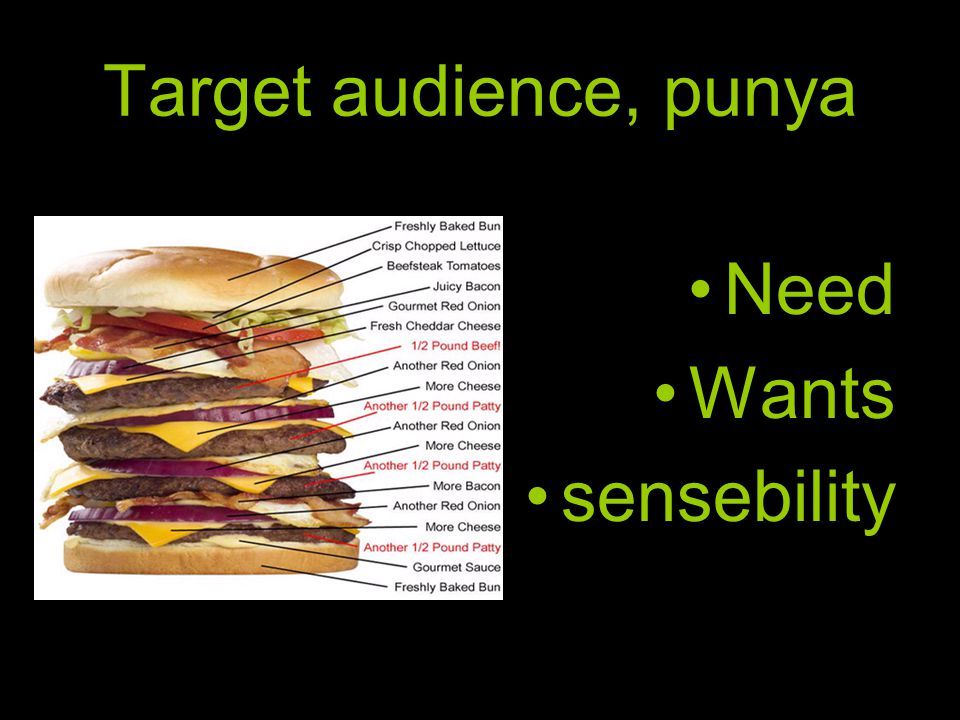Target audience, punya Need Wants sensebility