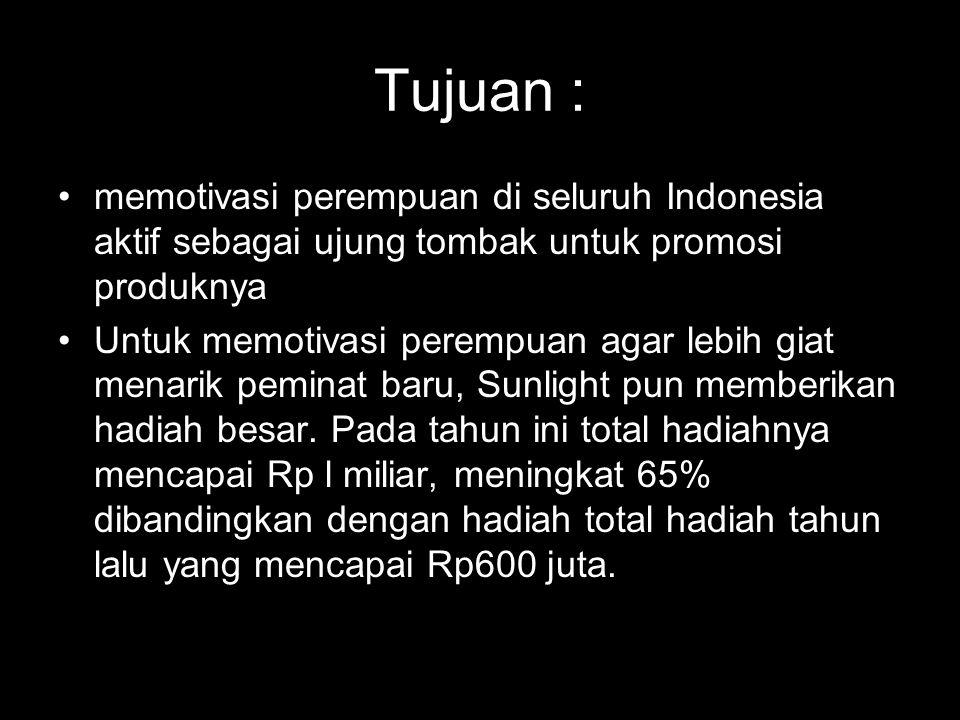 Tujuan : memotivasi perempuan di seluruh Indonesia aktif sebagai ujung tombak untuk promosi produknya.