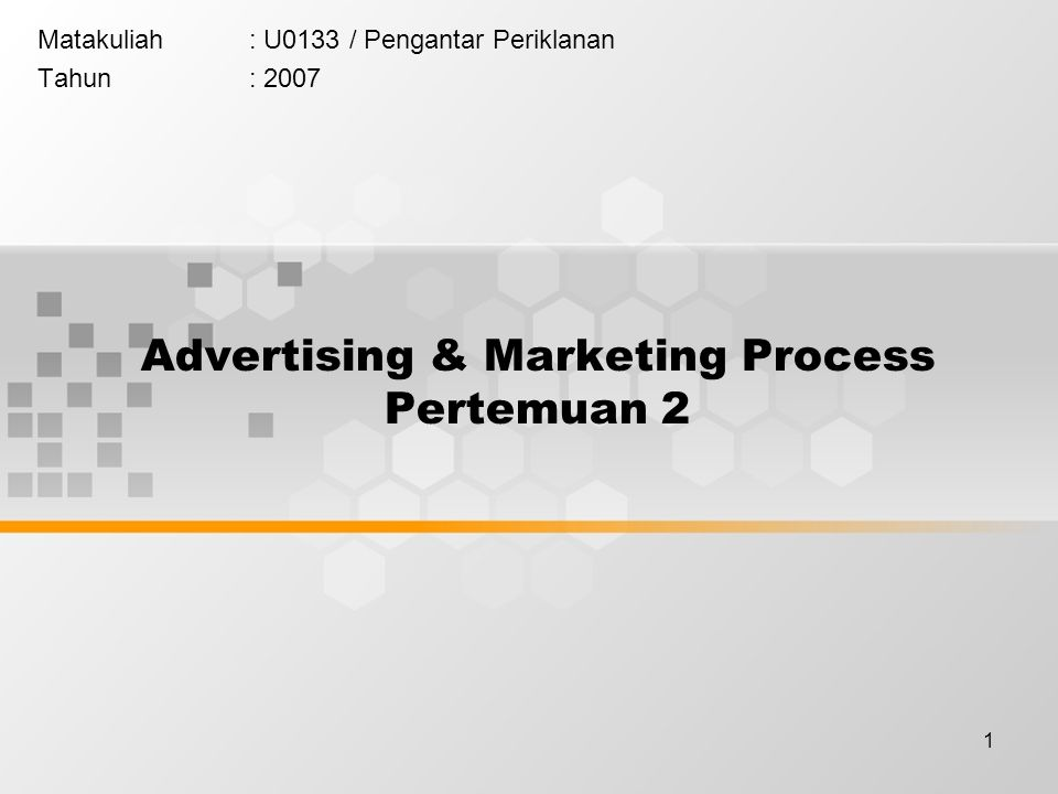 Advertising & Marketing Process Pertemuan 2