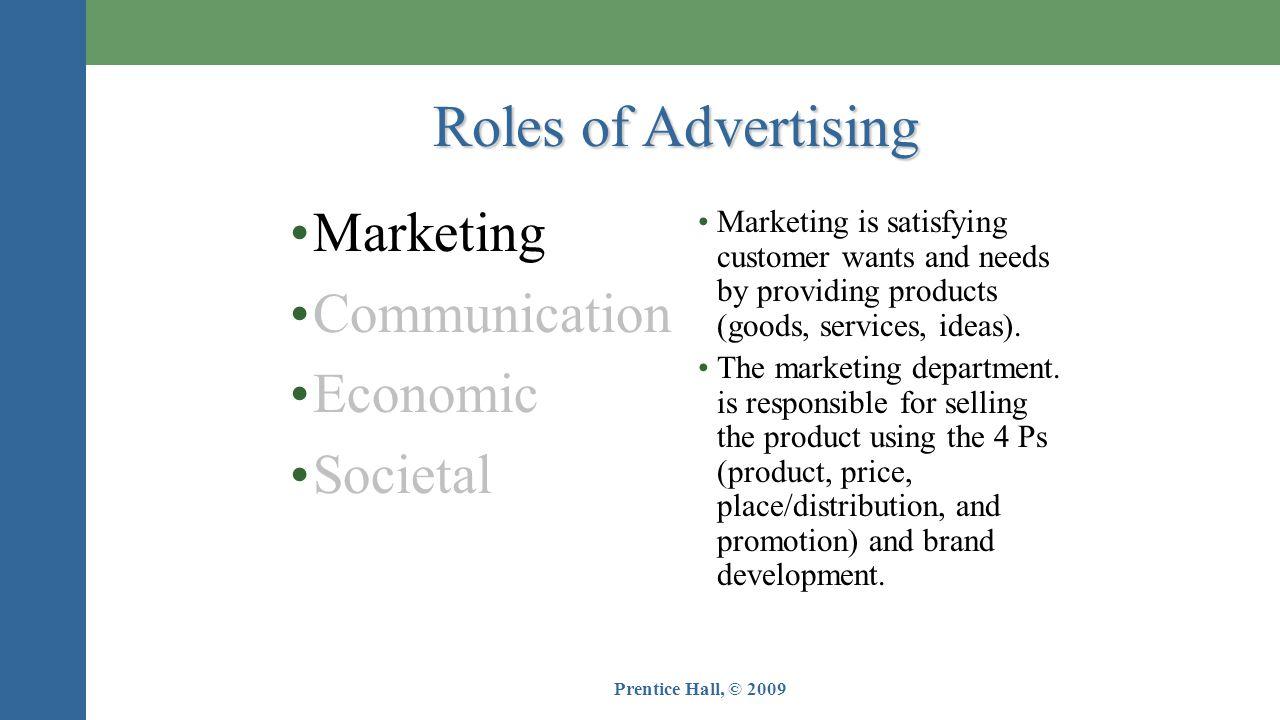 Roles of Advertising Marketing Communication Economic Societal