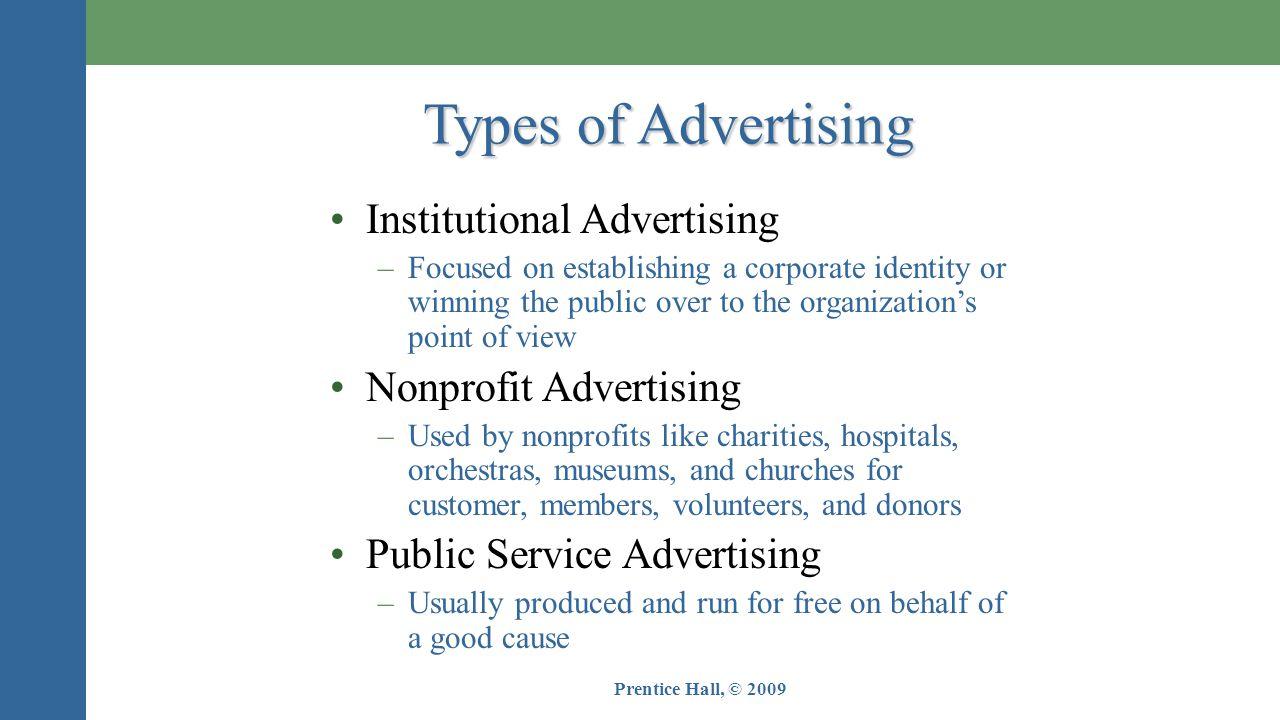 Types of Advertising Institutional Advertising Nonprofit Advertising
