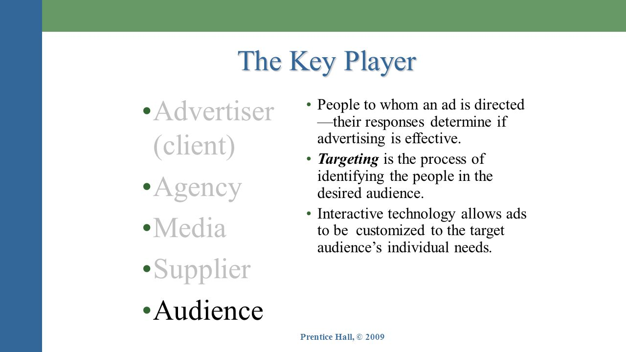 The Key Player Advertiser (client) Agency Media Supplier Audience