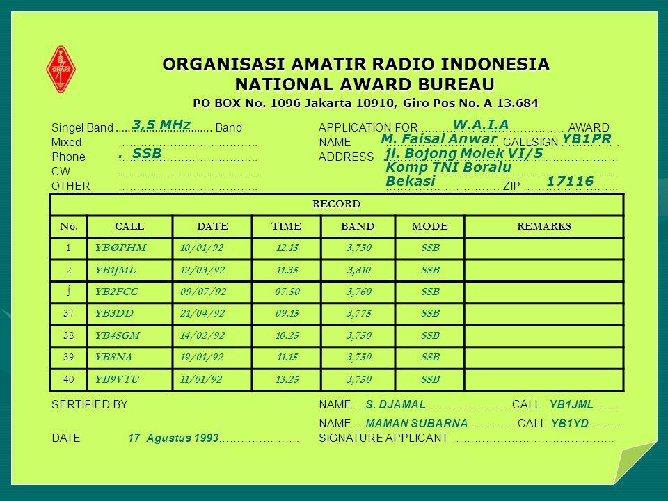 PO BOX No. 1096 Jakarta 10910, Giro Pos No. A 13.684