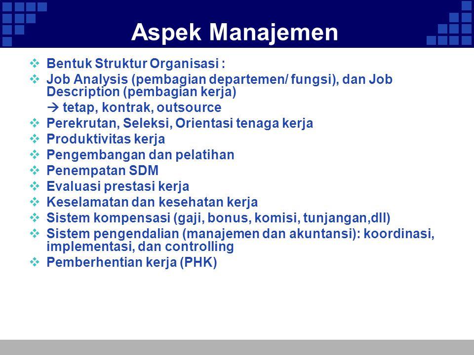 Aspek Manajemen Bentuk Struktur Organisasi :