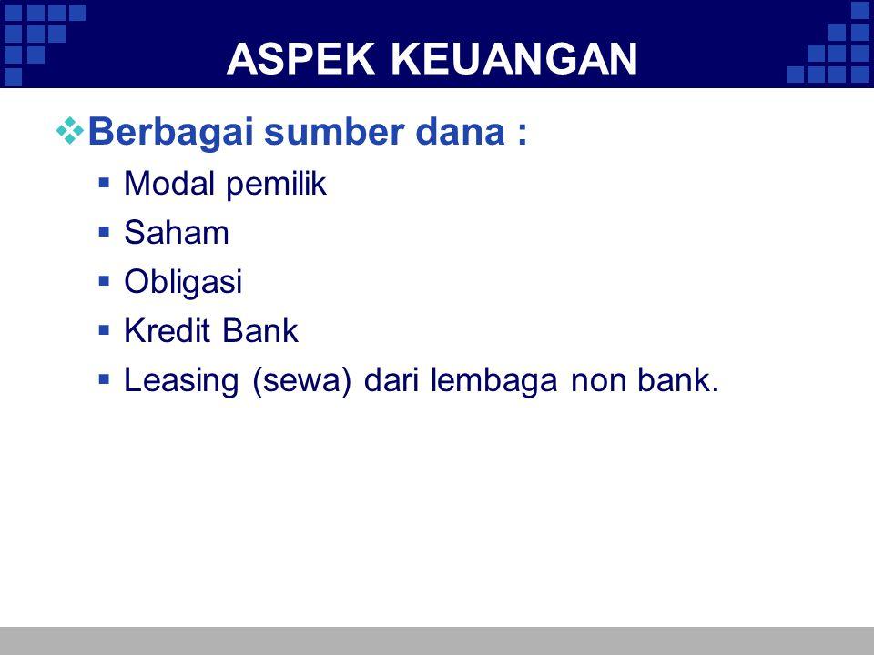 ASPEK KEUANGAN Berbagai sumber dana : Modal pemilik Saham Obligasi