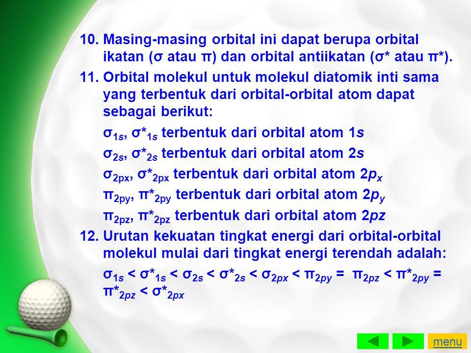 σ1s, σ*1s terbentuk dari orbital atom 1s