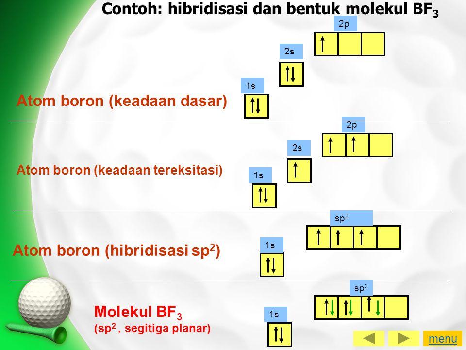 Contoh: hibridisasi dan bentuk molekul BF3