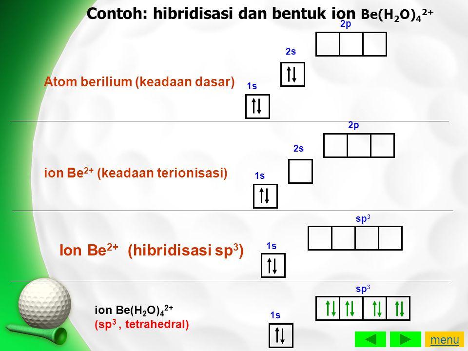 Contoh: hibridisasi dan bentuk ion Be(H2O)42+