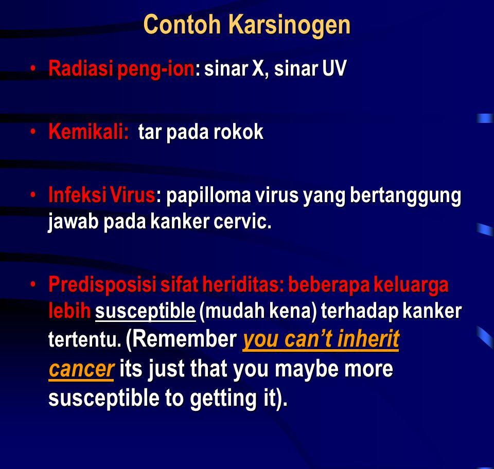 Contoh Karsinogen Radiasi peng-ion: sinar X, sinar UV