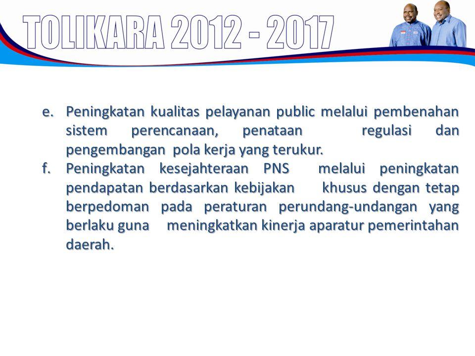 Peningkatan kualitas pelayanan public melalui pembenahan sistem perencanaan, penataan regulasi dan pengembangan pola kerja yang terukur.
