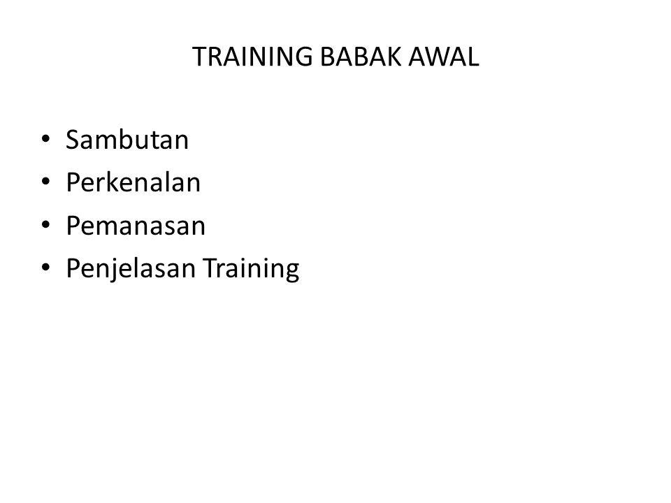 TRAINING BABAK AWAL Sambutan Perkenalan Pemanasan Penjelasan Training