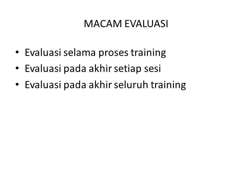 MACAM EVALUASI Evaluasi selama proses training. Evaluasi pada akhir setiap sesi.