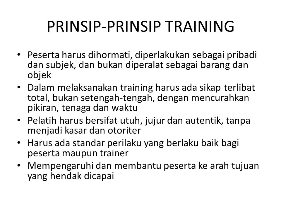 PRINSIP-PRINSIP TRAINING