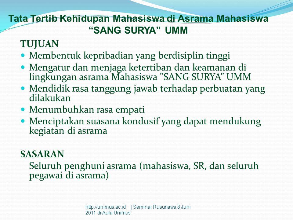 Tata Tertib Kehidupan Mahasiswa di Asrama Mahasiswa SANG SURYA UMM