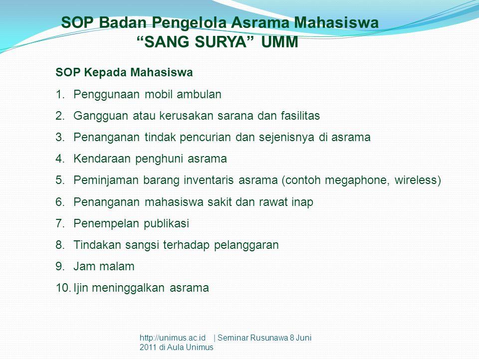SOP Badan Pengelola Asrama Mahasiswa