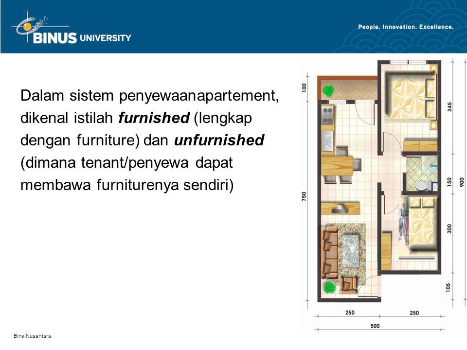Dalam sistem penyewaanapartement, dikenal istilah furnished (lengkap dengan furniture) dan unfurnished (dimana tenant/penyewa dapat membawa furniturenya sendiri)