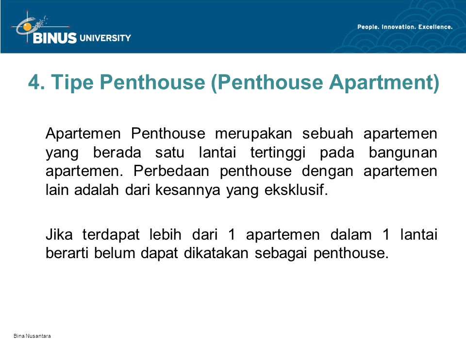 4. Tipe Penthouse (Penthouse Apartment)