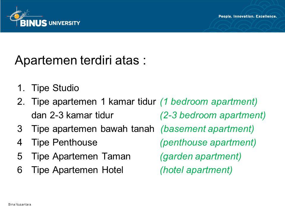 Apartemen terdiri atas :