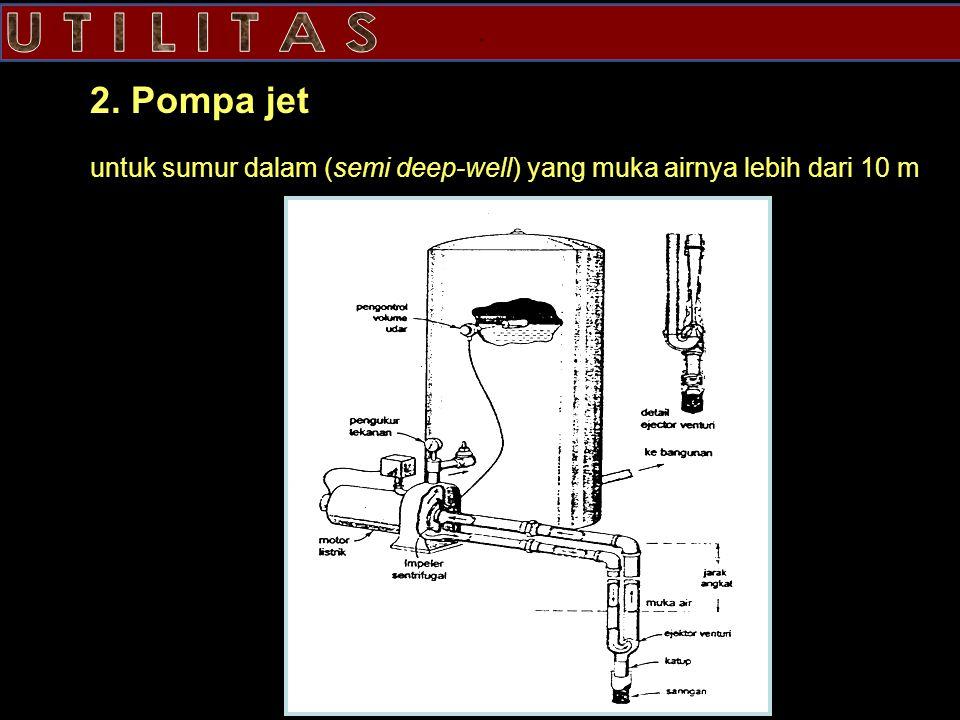 2. Pompa jet untuk sumur dalam (semi deep-well) yang muka airnya lebih dari 10 m