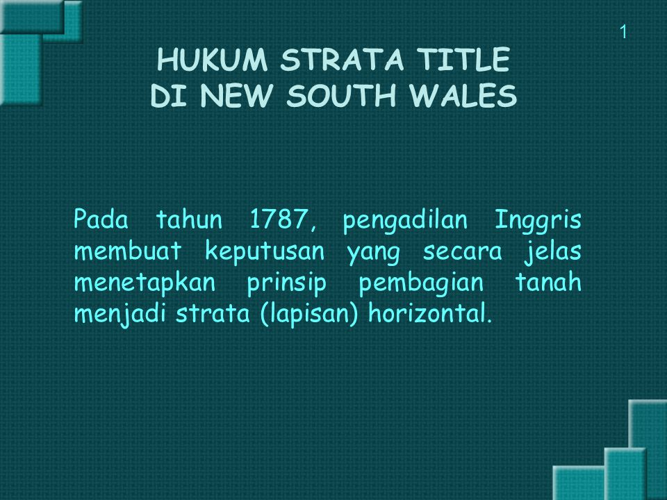 HUKUM STRATA TITLE DI NEW SOUTH WALES
