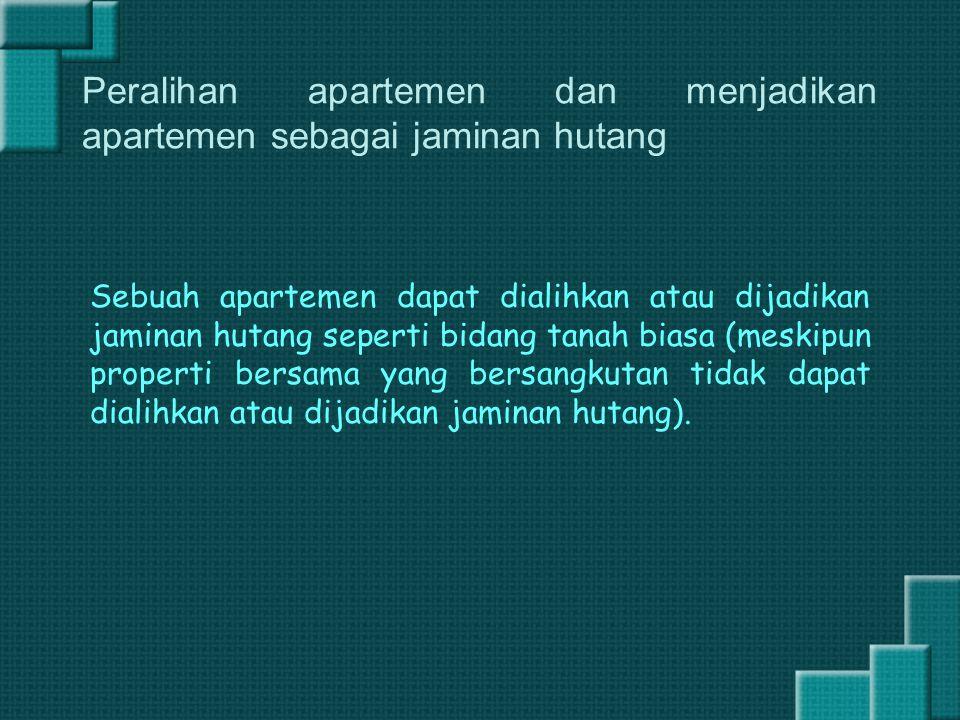 Peralihan apartemen dan menjadikan apartemen sebagai jaminan hutang