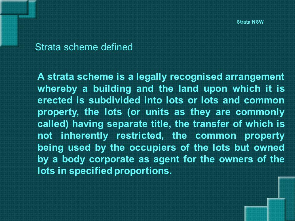Strata NSW Strata scheme defined.