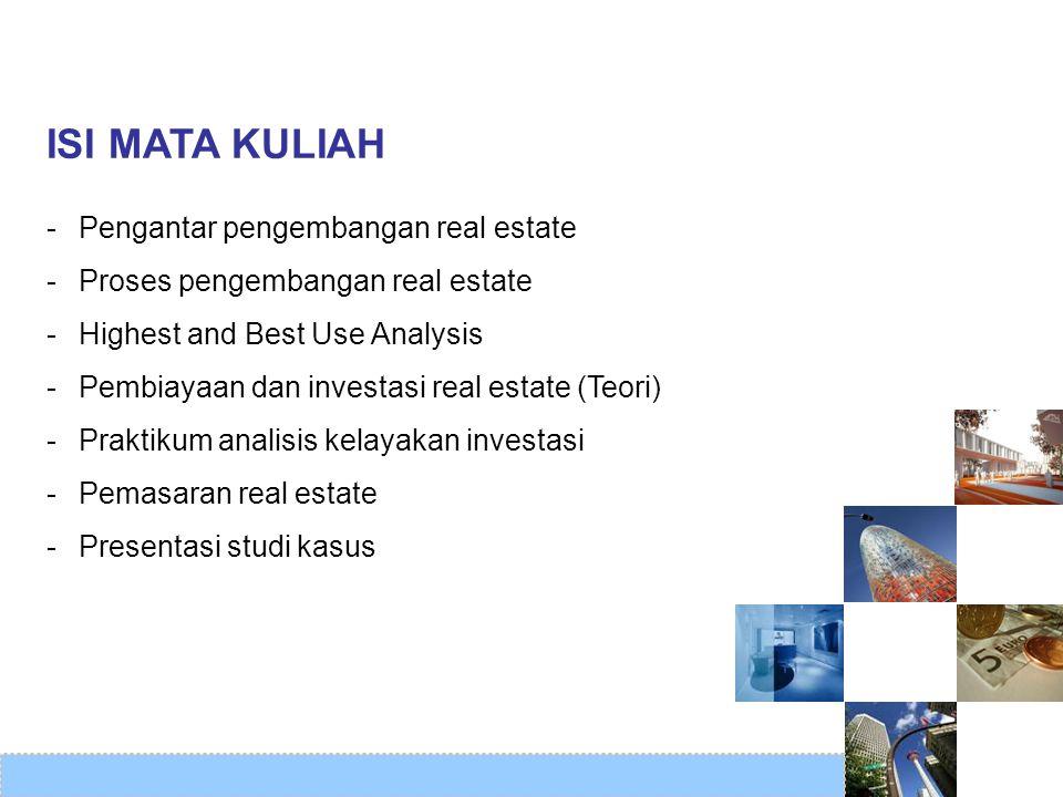 ISI MATA KULIAH Pengantar pengembangan real estate