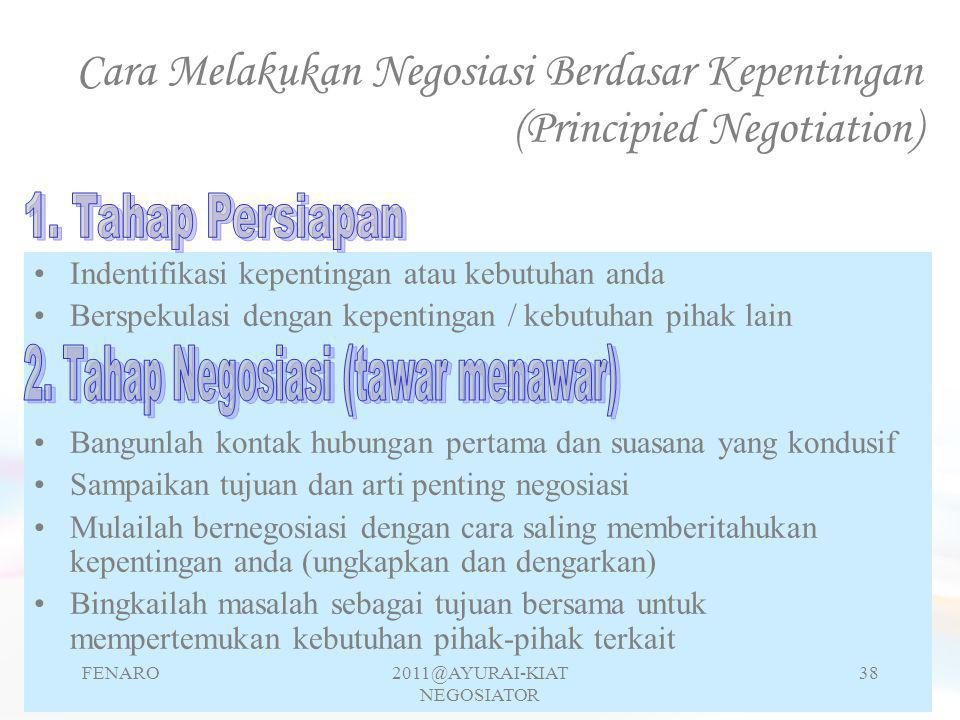 Cara Melakukan Negosiasi Berdasar Kepentingan (Principied Negotiation)