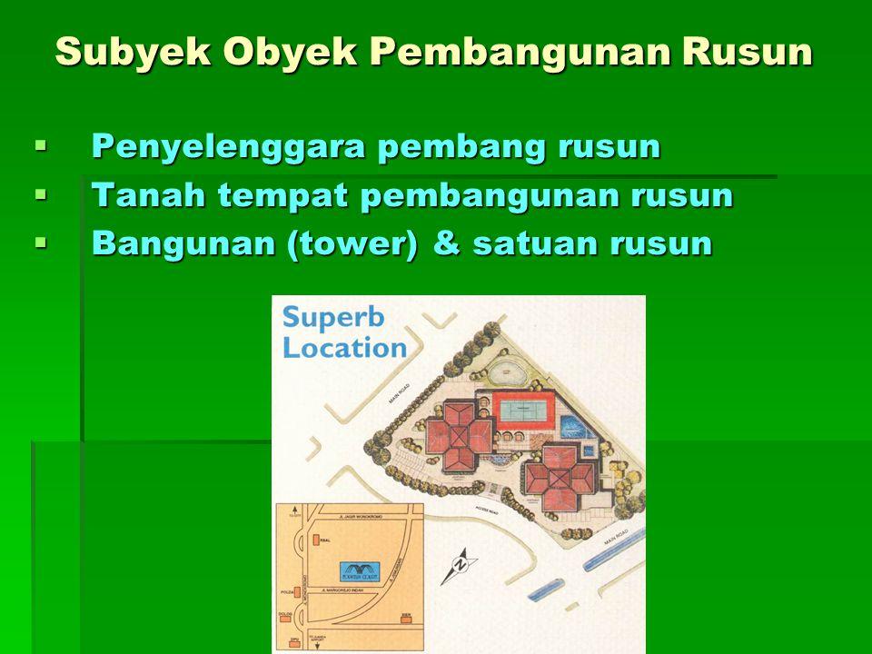 Subyek Obyek Pembangunan Rusun