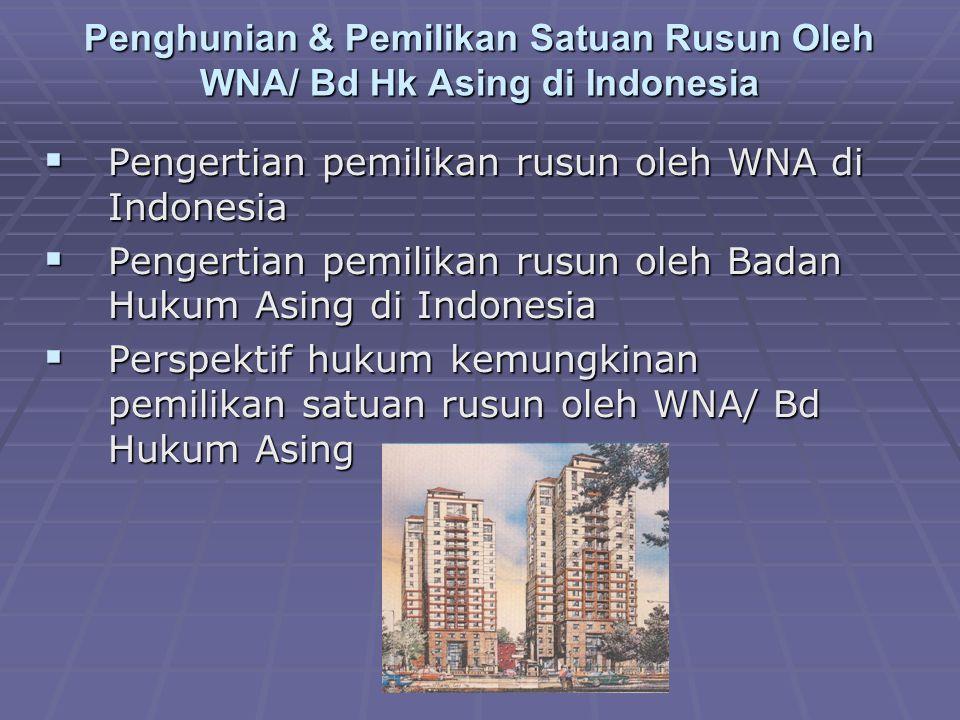 Penghunian & Pemilikan Satuan Rusun Oleh WNA/ Bd Hk Asing di Indonesia