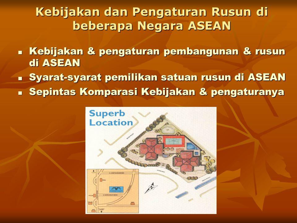 Kebijakan dan Pengaturan Rusun di beberapa Negara ASEAN