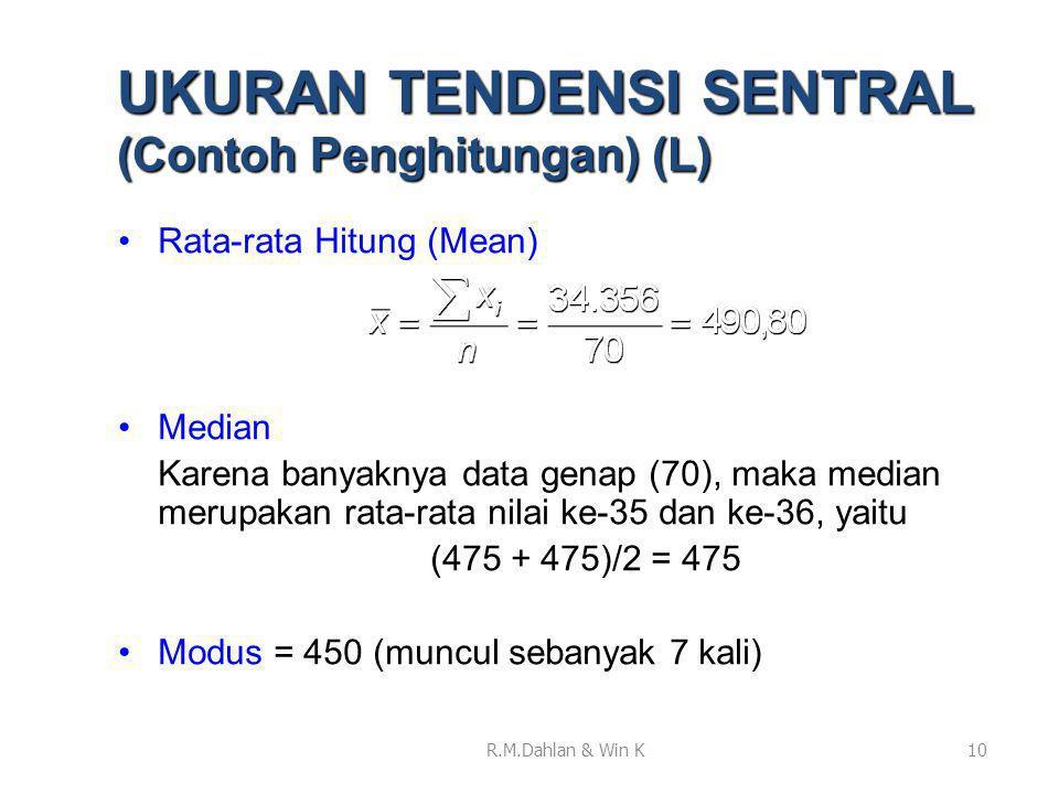 UKURAN TENDENSI SENTRAL (Contoh Penghitungan) (L)