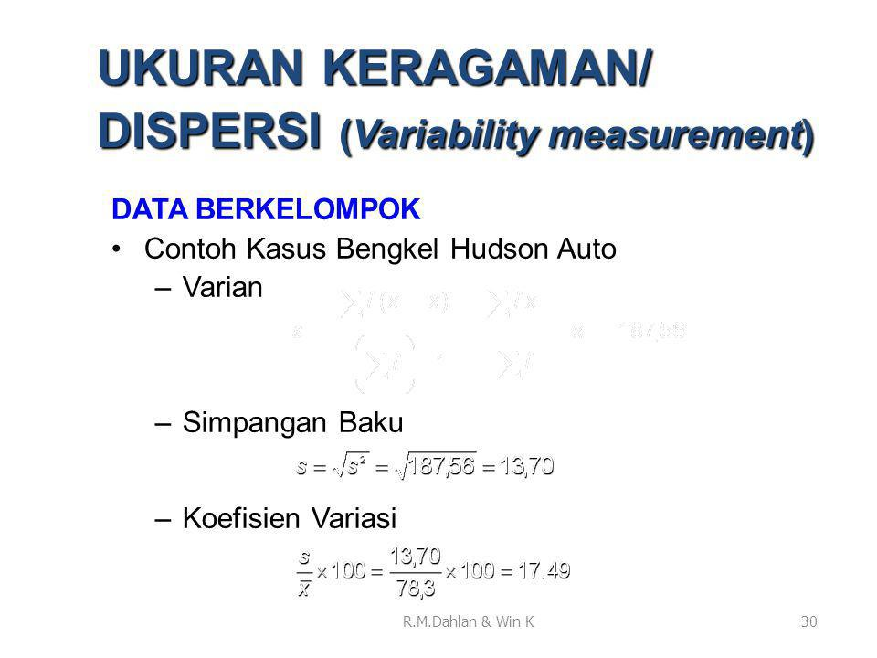 UKURAN KERAGAMAN/ DISPERSI (Variability measurement)