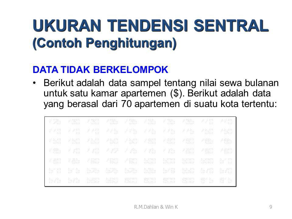 UKURAN TENDENSI SENTRAL (Contoh Penghitungan)