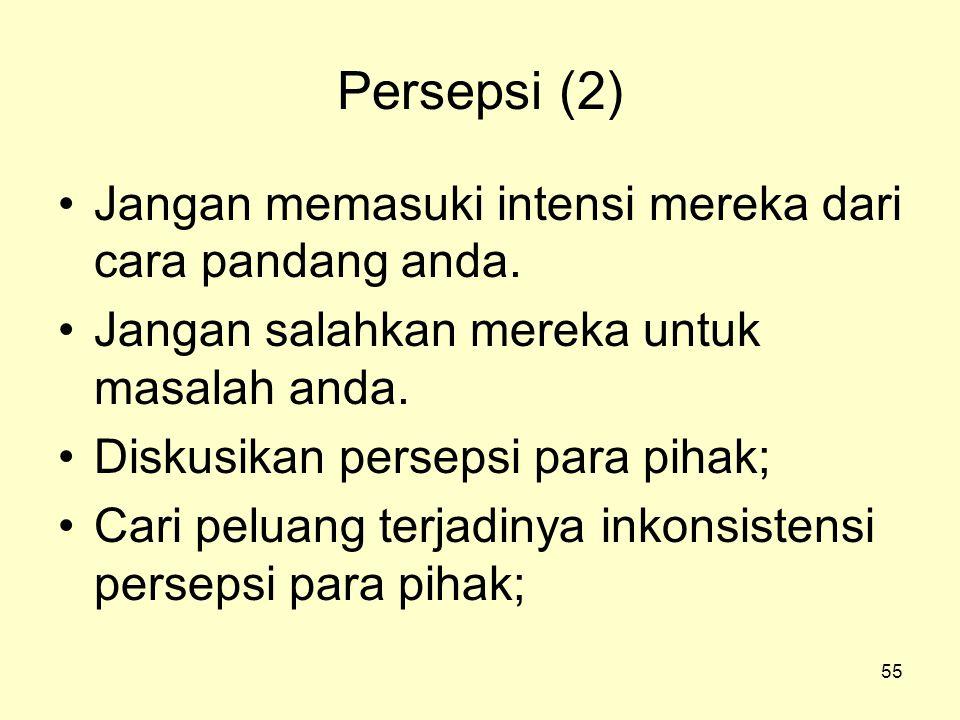 Persepsi (2) Jangan memasuki intensi mereka dari cara pandang anda.