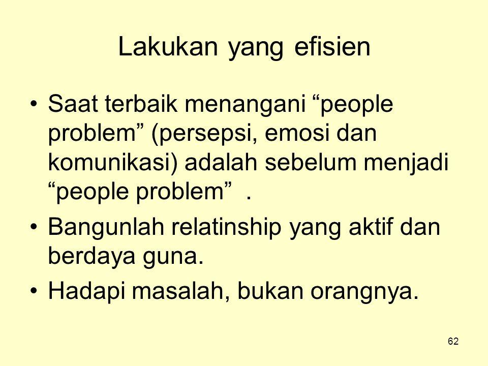 Lakukan yang efisien Saat terbaik menangani people problem (persepsi, emosi dan komunikasi) adalah sebelum menjadi people problem .