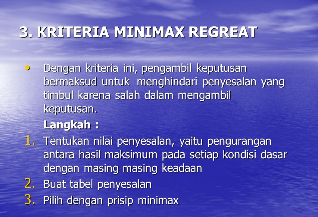 3. KRITERIA MINIMAX REGREAT