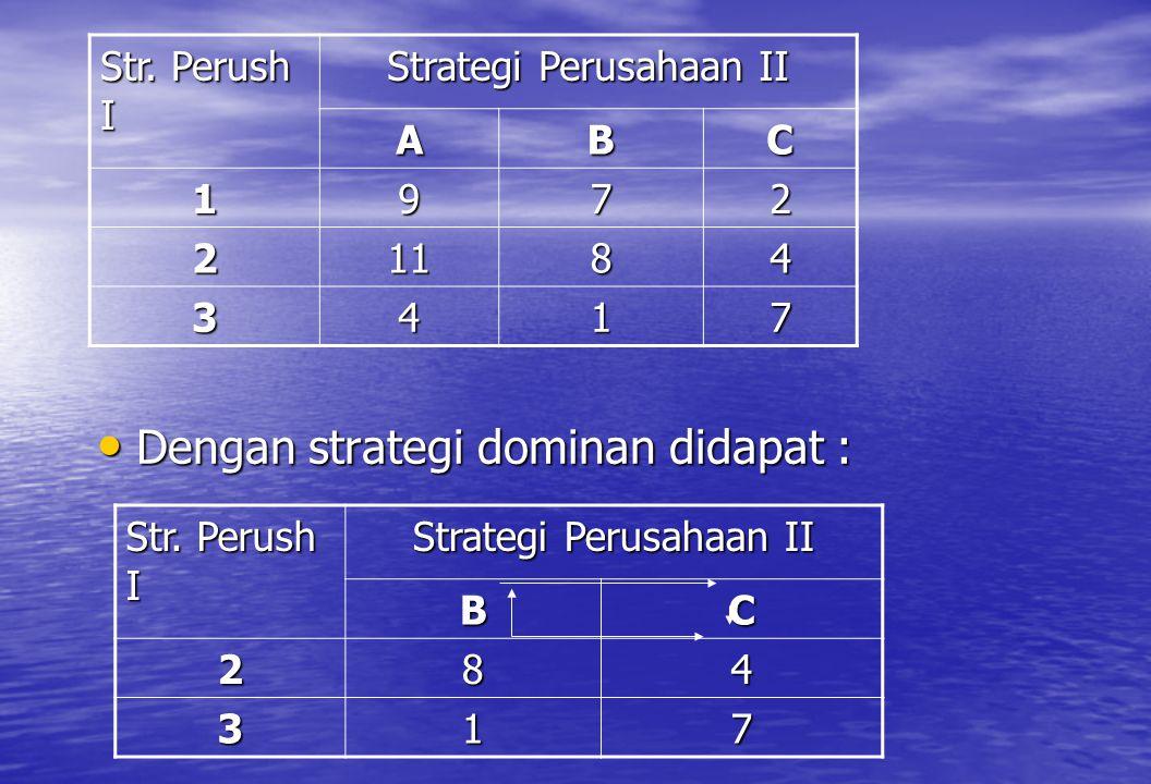 Dengan strategi dominan didapat :