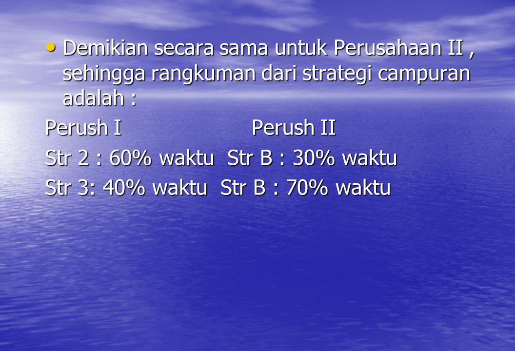 Demikian secara sama untuk Perusahaan II , sehingga rangkuman dari strategi campuran adalah :