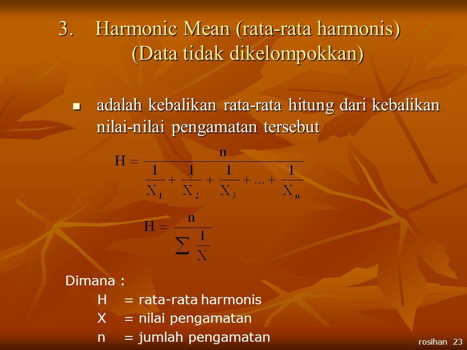 Harmonic Mean (rata-rata harmonis) (Data tidak dikelompokkan)